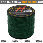 250 lb (113 kg) Big Game Super Strong 8X Braided Fishing Line 100, 300, 500 and 1000 m