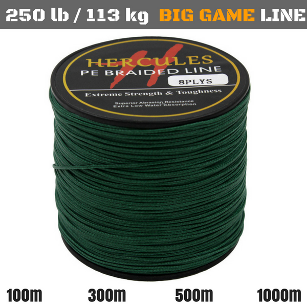 250 lb (113 kg) Big Game Super Strong 8X Braided Fishing Line 100, 300, 500 and 1000 m - groovy-grabz
