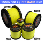 150 lb (68 kg) Big Game Super Strong 8X Braided Fishing Line 500, 1000, 1500 and 2000 m