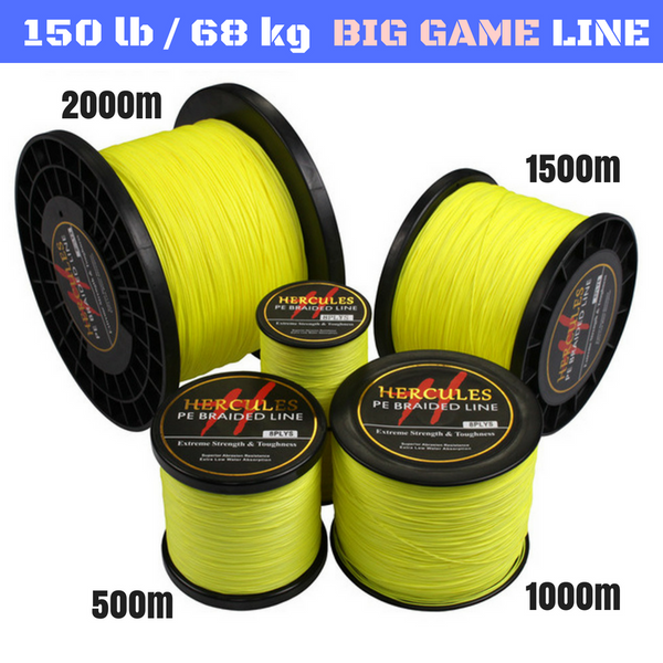 150 lb (68 kg) Big Game Super Strong 8X Braided Fishing Line 500, 1000, 1500 and 2000 m - groovy-grabz