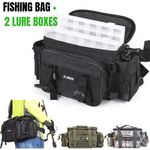 Water Resistant Canvas Multi-functional Fishing Bag With 2 Lure Boxes
