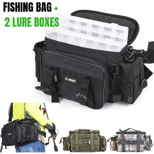 Water Resistant Canvas Multi-functional Fishing Bag With 2 Lure Boxes - groovy-grabz