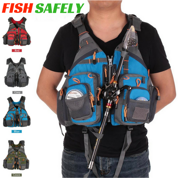 Mesh Adjustable Size Fishing Vest / Safety Life Jacket With Max 95kg 209lb Buoyancy