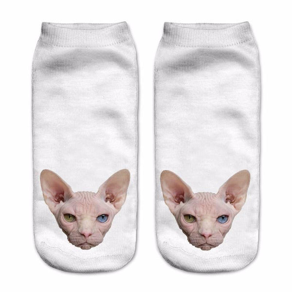Sphynx Cat White Ankle Polyester Socks