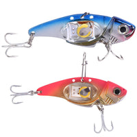 BLINKING MULTI-COLOR LED DUAL TREBLE HOOKS METAL FISHING LURE