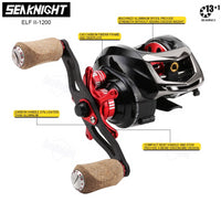KN ELF II 13+1BB BAIT CASTING ULTRA LIGHT CARBON FIBER REEL 6.4:1/ 7.2:1 - groovy-grabz