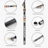 TELESCOPIC CARBON FIBER FISHING ROD 1.8-3.6M