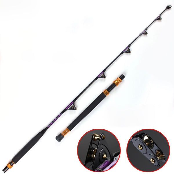 LK 37-60kg/ 81-110lb 1.8m Heavy Power 2 Sections Carbon Game/ Trolling Rod with 6 Maksuki Double Roller Guides - groovy-grabz
