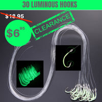 30 Luminous Barbed Fishing Hook With Fishing Line