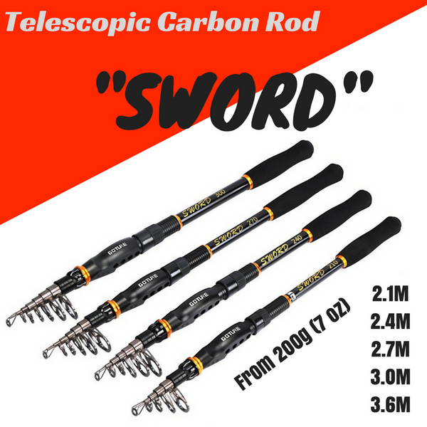 """SWORD"" Series Telescopic Carbon Fishing Rod"
