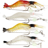 "3 ""WICKED SHRIMP"" LURES + 1 FREE ""LETHAL GLOW"" SHRIMP FISHING LURE"