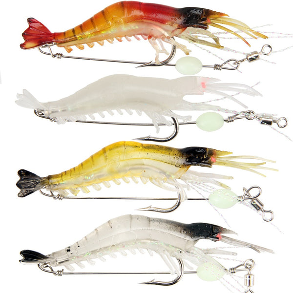 3 wicked shrimp lures 1 free lethal glow shrimp for White bass fishing lures