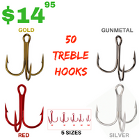 50 HIGH CARBON STEEL TREBLE FISHING HOOKS 5 SIZES 4 COLORS - groovy-grabz