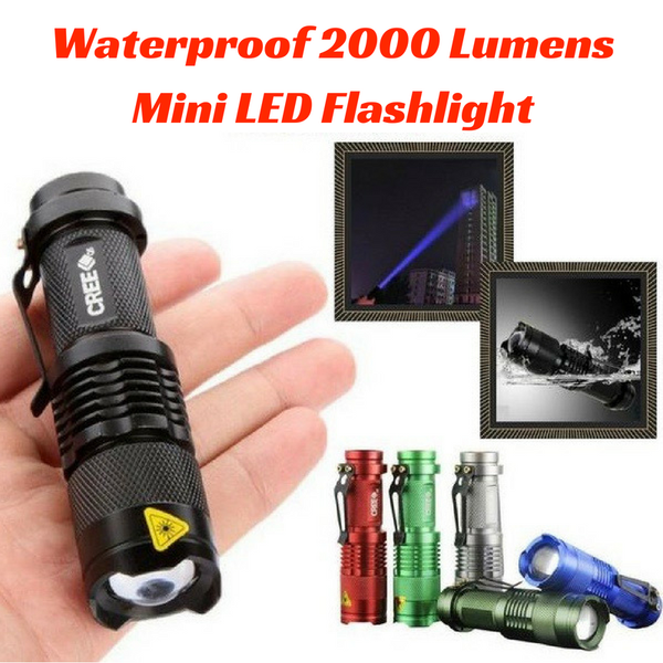 WATERPROOF MINI LED 2000 LUMENS FLASHLIGHT