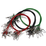 Set of 10 500mm 150lb Sea Fishing Steel Wire Leaders With Swivel and Cost Lock Snap - groovy-grabz