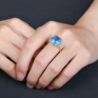 9.68ct Large 12mm Round Cut Natural Blue Topaz H SI Yellow/ White 14kt Gold/ Diamond Ring - groovy-grabz