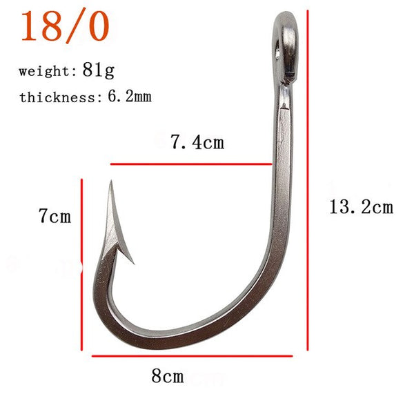 Stainless Steel Big Game Large Barbed Fishing Hook