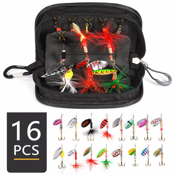 16pcs set Metal Spinner Baits with a Tackle Bag - groovy-grabz