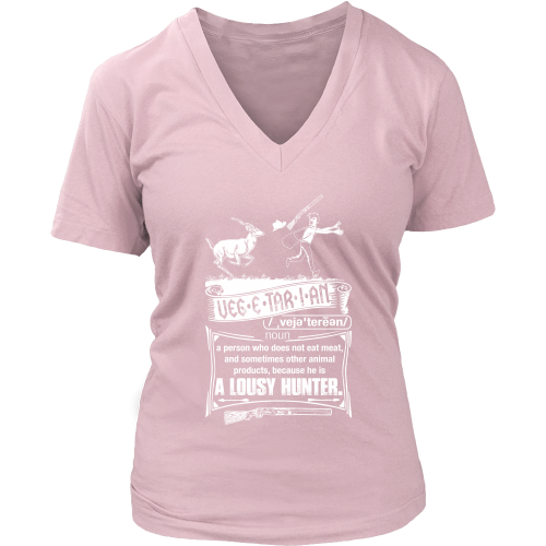 """Vegetarian"" CUSTOM Hunting Women V-Neck T-Shirt - groovy-grabz"