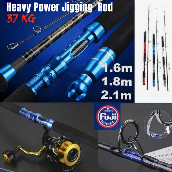 LK Jigmaster 37kg Heavy Power Carbon Jig Spinning Rod With Fuji Guide Rings - groovy-grabz