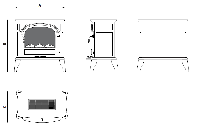 Ekofires 1250 electric stove dimensions