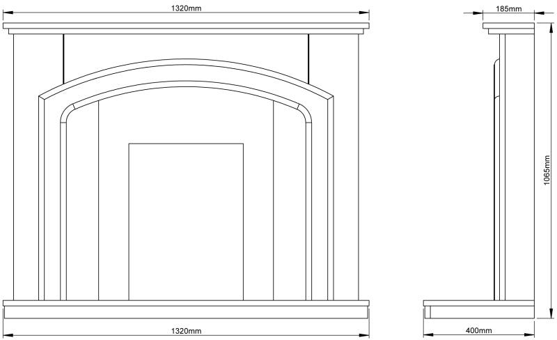 Be Modern Andorra Fireplace Surround Dimensions