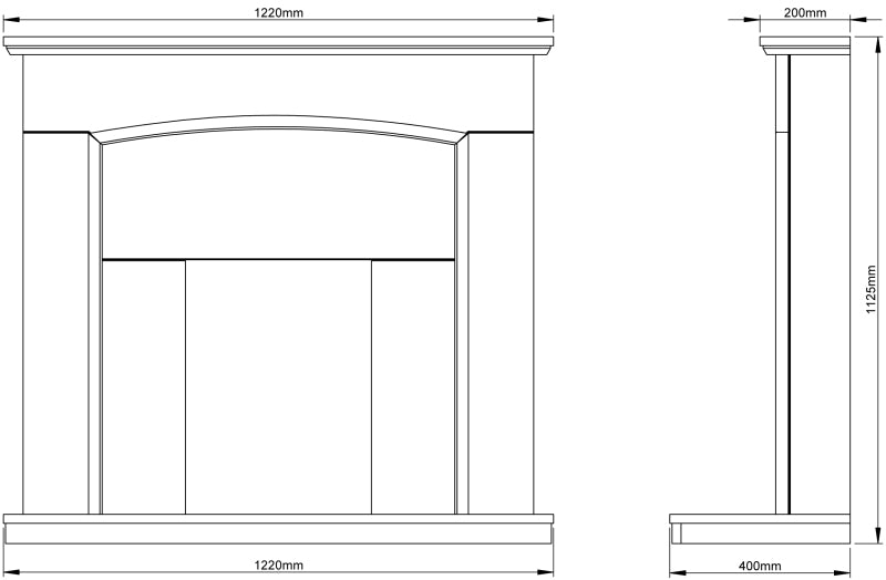 Be Modern Emelia Fireplace Surround Dimensions 48 Inch