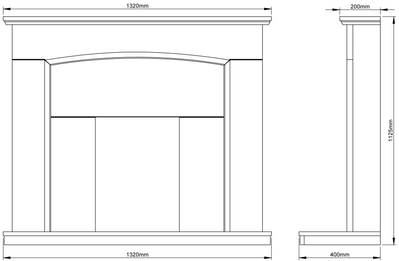 Be Modern Emelia Fireplace Surround Dimensions 52 Inch