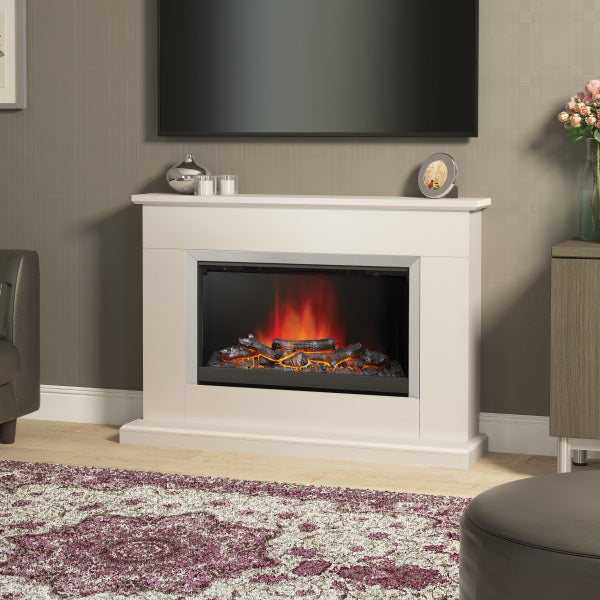Be Modern 44 Inch Linmere Large Electric Fireplace In Almond Stone Effect