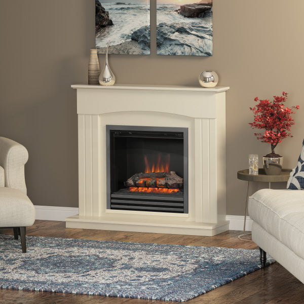 Be Modern Linmere electric fire suite in almond stone effect