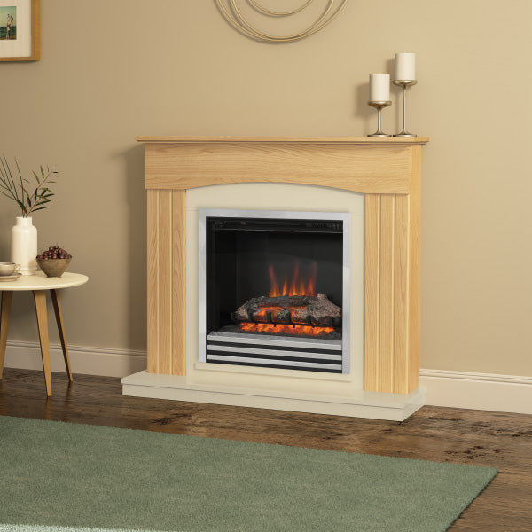 Be Modern Linmere electric fire suite in natural oak