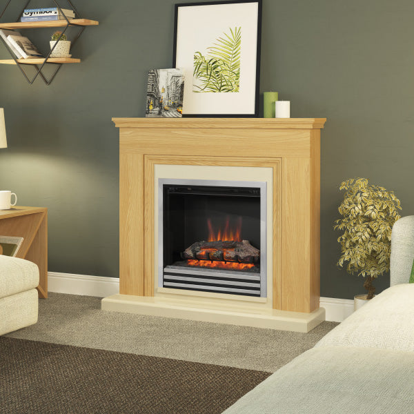 Be Modern Stanton Electric Fire Suite In Natural Oak