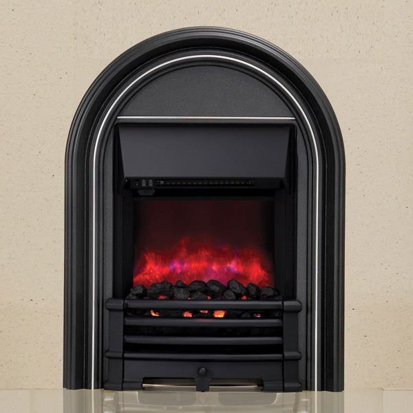 Be Modern Abbey Black Inset LED Electric Fire With Coal Bed