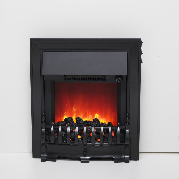 Be Modern Fazer Black Inset LED Electric Fire With Coal Bed
