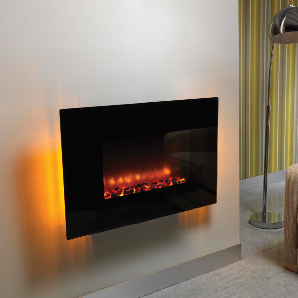 Be Moderm Orlando 36 Inch Flat Black Glass LED Wall Mounted Electric Fire