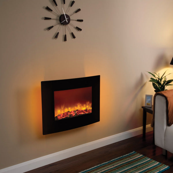 Be Modern Quattro LED Curved Black Glass Wall Mounted Electric Fire
