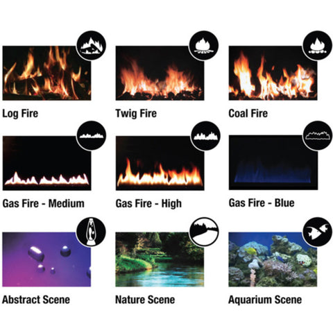 9 video scenes of Ekofires 1100 LCD electric fire