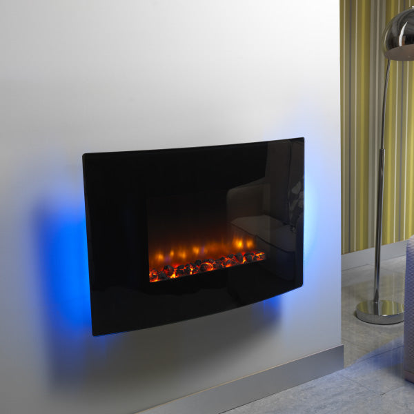 Be Modern Orlando electric fire | Curved Black Glass