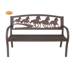 Gardeco Steel Framed Cast Iron Bench With Horses | SKU: BENCH-HORSES | Barcode: 5031599039435