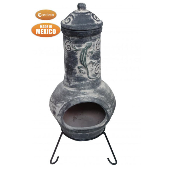 Gardeco XL Dark Grey Iguana Mexican Chiminea, Iguana On Funnel | SKU: C5IGUA.55-2 | Barcode: 5031599050669