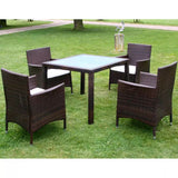VidaXL Brown Poly Rattan 5 Piece Outdoor Dining Set With Cushions On A Lawn | SKU: 43129 | UPC: 8718475506928