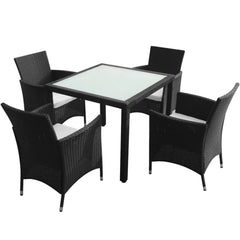 VidaXL Black Poly Rattan 5 Piece Outdoor Dining Set With Square Table | SKU: 43130 | Barcode: 8718475506935