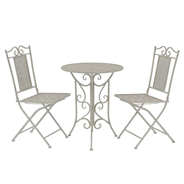 VidaXL Grey Steel 3 Piece Bistro Set | SKU: 43153 | UPC: 8718475507161