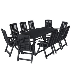 VidaXL Plastic 11 Piece Outdoor Dining Set In Anthracite Colour | SKU: 276182 | UPC: 8719883564098