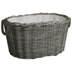 VidaXL Grey Willow Firewood Basket With Carrying Handles | SKU: 286985 | UPC: 8719883765327
