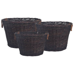 VidaXL Dark Brown Willow 3 Piece Stackable Firewood Basket Set | SKU: 286986 | UPC: 8719883765334