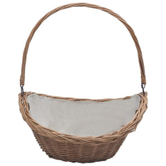 VidaXL Brown Willow Firewood Basket With Handle 57cm | SKU: 286987 | UPC: 8719883765341