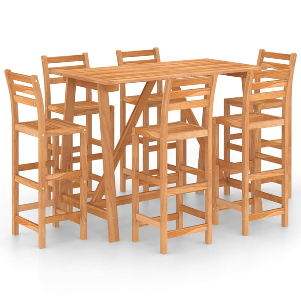 VidaXL Solid Acacia Wood 7 Piece Outdoor Bar Set | SKU: 3057851 | UPC: 8720286190210