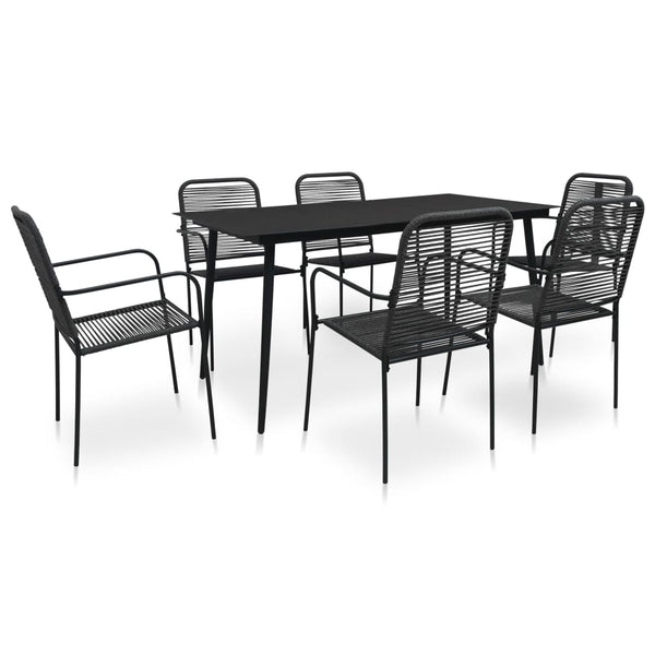 VidaXL Cotton Rope & Black Steel 7 Piece Dining Set (Shorter Table) | SKU: 3058278 | UPC: 8720286210222