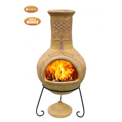 Gardeco Derwyn The Tree Mexican Chimenea In Mustard Tone Lighted-Up And In Action